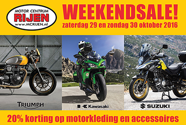 20% korting op motorkleding en accessoires